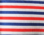 Vintage Knit Fabric: Red, White, and Blue Striped Knit Fabric 1.5 Yards
