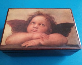 Vintage Florentine Guardian Angel Wood Jewelry Music Box Through The Eyes of Love Gypsy Treasure Prayer Chest Boho Stash Decor Keepsake Gift