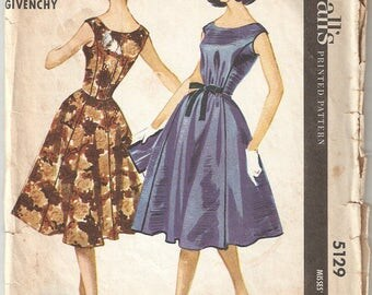 Vintage McCall's Sewing Pattern 5129 Dress by Givenchy 1959 Size 12 Bust 32