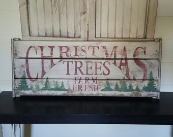 Distressed and vintage look Christmas trees sign/Christmas/North Pole/Holiday