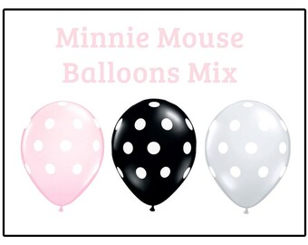 "Minnie Mouse polka dot Print 11"" Balloons birthday party decorations light pink black white"