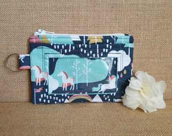 ID Wallet / Keychain ID Wallet / ID Holder with Credit Card Pocket in Unicorn Love