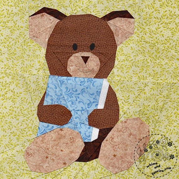 Story Book Teddy Bear - Paper Piecing