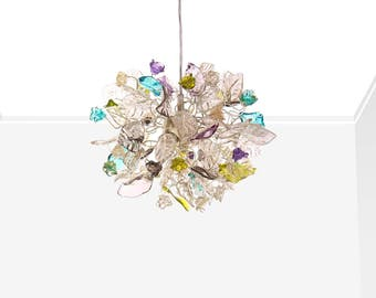Ceiling Chandelier with clear flowers and leaves and point of multi color for kitchen, bathroom, children rooms or hall .