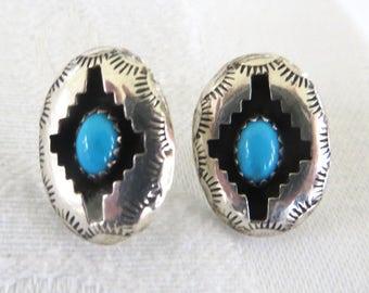 Sterling Navajo Earrings, Vintage Navajo Turquoise Pierced Earrings, Native American Jewelry