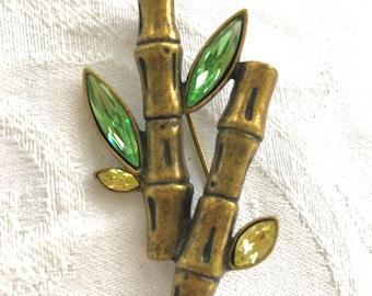 Vintage Rhinestone Bamboo Brooch, Bamboo Pin,