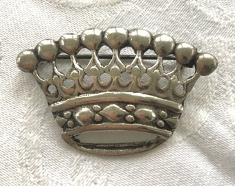 Vintage Sterling Crown Brooch, Princess Crown Pin, Royal Jewelry,  Handcrafted Silver