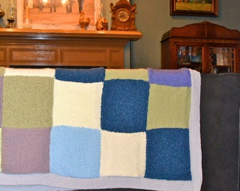 """Giant 66x66-inch Knitted """"Ice Patchwork Kwilt"""" Quilt with Blues, Lavenders, Grays, Greens and Cream Squares"""