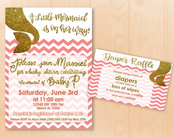 Custom Mermaid Baby Shower Invitation and Diaper Raffle Card Printable *Under The Sea Baby Shower* Coral and Gold Baby Shower Invite