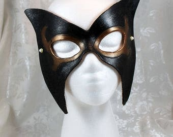 Winged Black Leather Mask, Black Wing Shaped Leather Masquerade Mask with Gold, Black CosPlay Super Hero Leather Mask