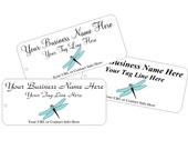 Custom Printed Blue Dragonfly Boutique Price Tags or Hang Tags String Attached