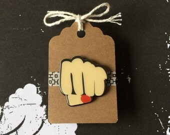Female Fist Pin - Pow Comic Book Style - Girl Power - Feminism Brooch