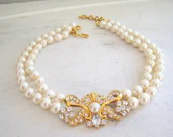 Monet Vintage Double Strand Creamy Beige Faux Pearl Crystal Rhinestone Necklace Large Ornate Center Rhinestone Bow Vintage Bride 1980's Mint