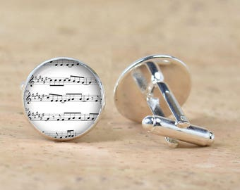 Music Partiture cufflinks - Gift for men - Musicians -Silver plated accessories