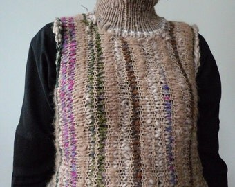 Handmade striped vest / sweater without sleeves made from best quality Lama wool