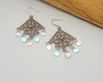 Snowflake Earrings - Chandelier Earrings - Blue Earrings