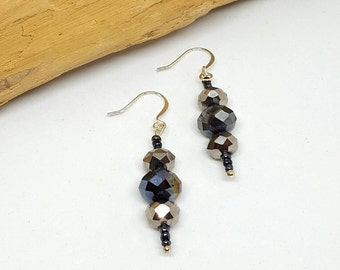 Traditional Black Shimmer Earrings - Traditional Earrings - Black Earrings - Shimmer Earrings