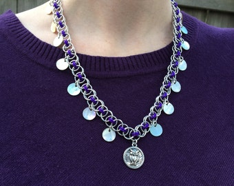 Owl Moon Purple Owl Chainmaille Necklace