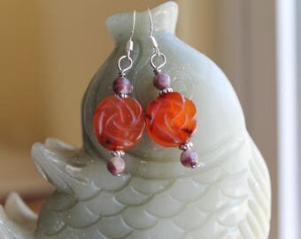 Orange Agate Carved Flower with Tourmaline Earrings,,sterling silver hook( free shipping)