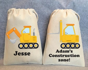 "8-  Construction party, Construction birthday, Construction party supplies, construction vehicle party, construction party favor bags,5""x8"""