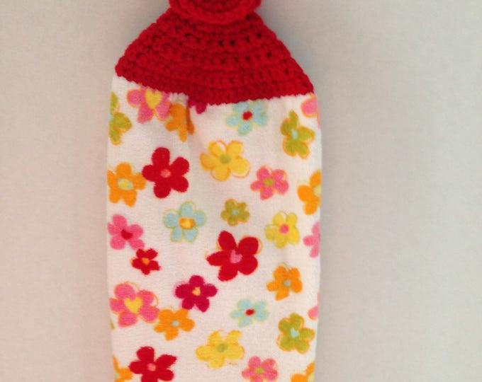 Flower Kitchen Towel - Crochet Top - Summer Kitchen Towel - Colorful - Hanging Towel - Handmade Crochet - Ready to Ship