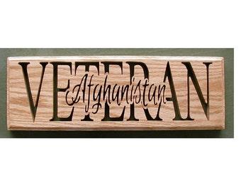 Afghanistan Veteran Plaque Cut On Scroll Saw