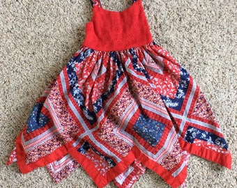 Red White Blue Hankie Picnic Dress Baby Girl 24 months Summer
