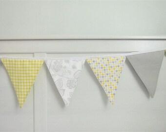 Baby Shower Garland, Flag Bunting (8), Nursery Bunting, Flags Garland - Yellow Grey