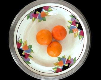 Vintage 1930's Umberton Plate Farberware Chrome Paris Pattern Serving Tray 1930's Art Decor Tulip Design Leigh Potters Serving Dish