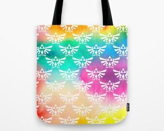 Zelda Tote Bag, Triforce Tote Bag, The Legend of Zelda Tote Bag, Triforce on Bright Watercolor Tote, Hylian Royal Crest Tote Bag, Zelda Bag,