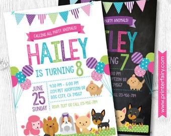 Puppy Invitation, Pet adoption party, Puppy Birthday Party, Puppy Adoption, Digital Invitation, 2 Options