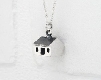 SILVER Monopoly House Pendant. MONOPOLY Little House Token Necklace. Sterling Silver Home Necklace. Monopoly Jewelry.
