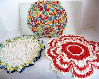 Vintage Hand Crochet Doilies Set of 3