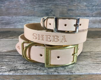 Personalized Off White Leather Dog Collar with FREE Name
