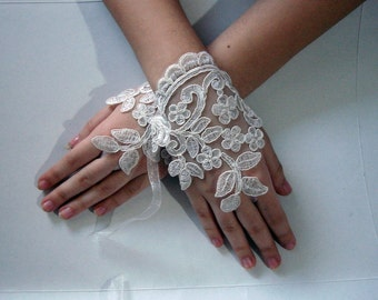 Ivory Fingers gloves, lace fingerless gloves, ivory lace gloves,