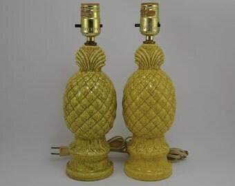 Vintage Pineapple Nightstand Lamp Pair