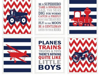 Transportation Nursery, Vehicle Art,  Baby Boy Nursery, Planes Trains Trucks and Toys, Boy Rules, Boy Room Decor, Red, Navy Blue, Gray