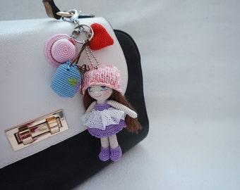 Tiny girl crochet bagcharm * Ready to ship*