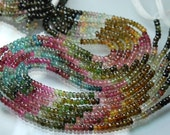 14 Inch-Super-FINEST-  Multi Tourmaline faceted rondelles 5mm full 14 inch strand,Super Finest Quality