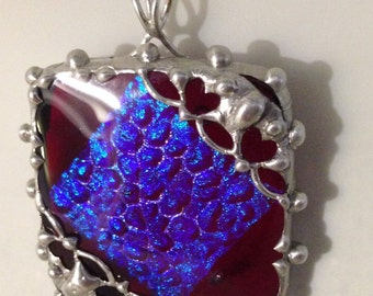 Red and Blue Fused Glass Pendant with Handmade Heart Bezel / Heart Pendant / Silver Colored (tin) Bezel / Stainless Steel Chain