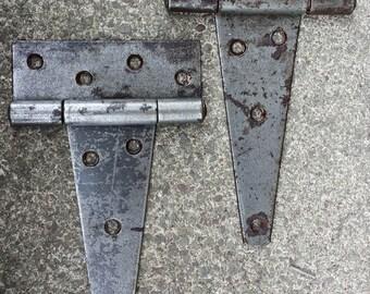 2 Restored Antique Steel Barn Stable Farm Door Strap Surface Mount Door Hinges