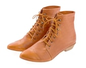 Whisky brown Leather handmade boots / High Polly-Jean lace up Whisky brown flat Boots by Tamar Shalem