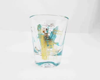 Royal Gorge, Colorado - Souvenir Shot Glass - Teal Blue and Gold Against Clear Glass - Retro '60s - Glass Jigger - Souvenir