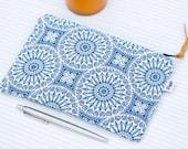 Minimalist Pencil Case, Womens & Mens Zipper Pouch, Blue Boho Mandala Fabric, Pen Bag, Useful Gift for Him and Her