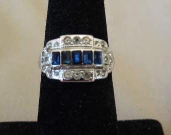 Vintage ART DECO Style 18K HGE Espo Jeweled Ring