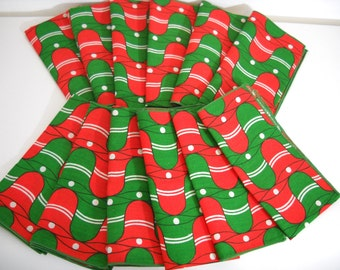 Mod Christmas Bells Cloth Napkins // Set of 12
