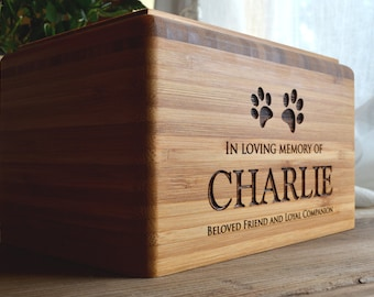 Pet Urn, Memorial Box, Bamboo, Personalized, Dog, Cat, Eco-Friendly