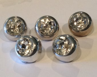 5 Vintage Silver Shanked Buttons with Faceted Concave Centers, Round Buttons, Indented center, Rhinestone Look Buttons