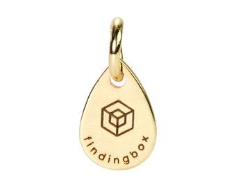 Gold Teardrop Jewelry Tag, Laser Engraved Logo on Teardrop Tags Sequins, 7x11mm, 19 Gauge, Pkg of 100 PCS, F14Q.GO01.P100.C