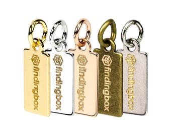 Custom Logo Mechanical Engraved on Rectangle Metal Jewelry Tag, Colour Plated over Brass, 11.5x6mm, 23 Gauge, F0LA.ME